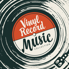 Fototapeta Vector poster or cover with vinyl record, record player and calligraphic lettering in retro style obraz
