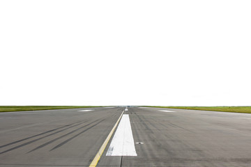 Road runway with markings on asphalt covering the surface. White background for replacement and editing