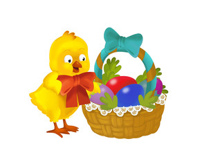 cartoon happy chicken with easter basket full of eggs on white background - illustration for the children
