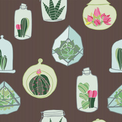 Hand drawn colorful terrarium collection on a brown earth tone striped background. Seamless vector pattern.