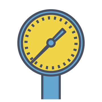 Outlined blue reading meter, dial with measuring scale. Blue yellow vector illustration, isolated on white background