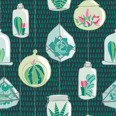 Hand drawn colorful hanging terrarium collection on a blue green drop textured background. Seamless vector pattern.