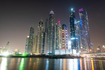 Dubai, United Arab Emirates - October, 2018: View of Dubai city downtown by night