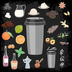 A set of ingredients for preparation of coffee recipes. Vector illustration for menu boards.