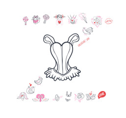 Collection of hand drawn Valentine day doodle. Valentine's day special pack design elements sets. Perfect for invitation cards and page decoration.