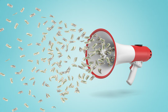 3d rendering of money dollars flying out of white red megaphone on blue background
