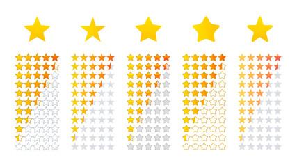 クチコミレビュー評価の五つ星アイコンイラスト素材セット
