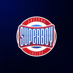 Sport emblem typography. Super boy hero logotype sticker for your t-shirt, print, apparel