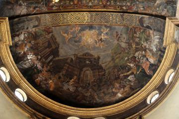 Fresco in the dome above the the altar at the Basilica Santa Maria della Steccata, Parma, Italy
