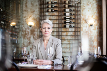 Portrait of businesswoman in a restaurant