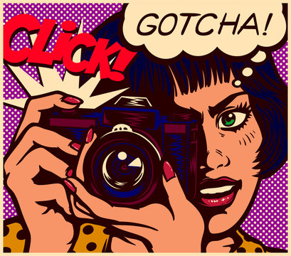 Pop art comic book style panel paparazzi female journalist reporter photographer woman taking picture with retro analog photo camera vector illustration
