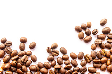 Fotobehang Koffiebonen Close up of Coffee beans on white background