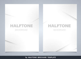 Abstract modern halftone brochure mockup in gray decorating background.