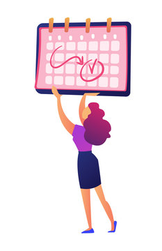 Businesswoman holding calendar with notes on dates vector illustration. Planning working month, shedule and time management, business planning and deadline concept. Isolated on white background.