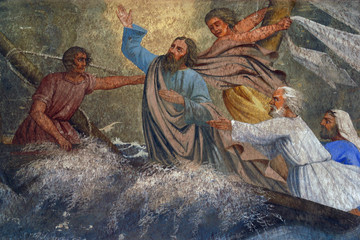 Jesus Calms a Storm on the Sea Wall mural