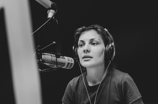 female dj in studio radio station