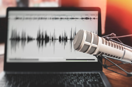 Professional microphone and sound waveform on screen