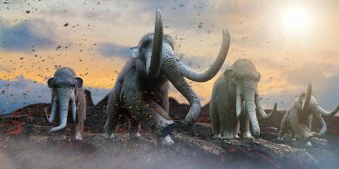 herd of mammoths in the wild render 3d