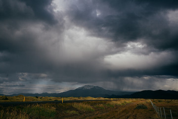 Nature of Iceland, dramatic sky and storm