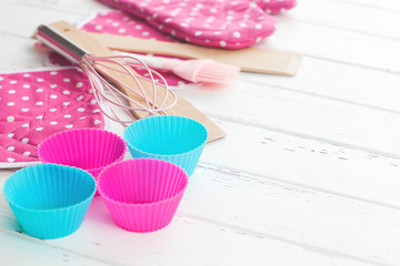 Bakery tools. Kitchen background. Top view of kitchenware. Cooking stuff flatlay with copy space.