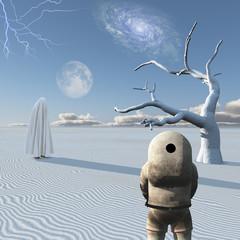 Astronaut and mystic figure