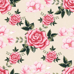 Seamless pattern beautiful pink Rose and Magnolia flowers on pink pastel color background.Vector illustration hand drawing line art.
