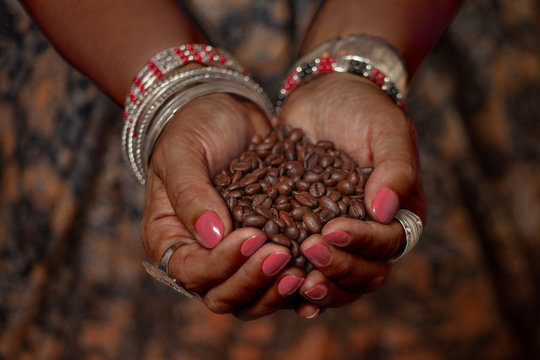 Brown feminine hands in traditional jewelery hold a handful of coffee beans