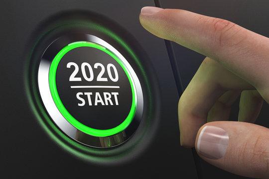 Button 2020 Start - LED grün - Hand