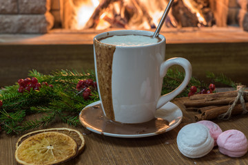 Cozy scene before fireplace with mug with hot chocolate, marshmallow and candied fruit.