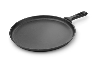 Round cast iron griddle pan