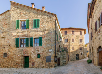 A beautiful view of the medieval village of Monticchiello without people, Siena, Tuscany, Italy