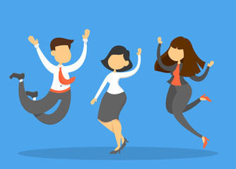 Happy business team in suit jump and celebrate