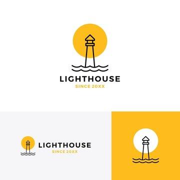 lighthouse logo vector icon line outline monoline