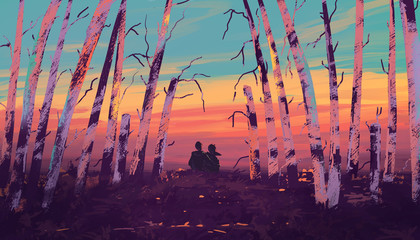 Loving couple sitting in the woods. Fantastic landscape with sunset. Digital art