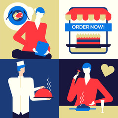 Online food ordering - flat design style colorful illustration