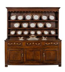 Oak Welsh Dresser with dinner service plates cupboard sideboard