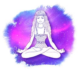 Young woman sitting at pose of lotus