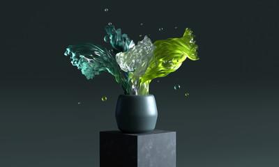 Abstrakte Glasskulptur in Vase