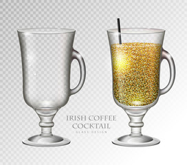 Realistic cocktail irish coffee vector illustration on transparent background. Full and empty glass