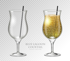 Realistic cocktail blue lagoon vector illustration on transparent background. Full and empty glass