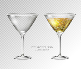 Realistic cocktail cosmopolitan vector illustration on transparent background. Full and empty glass