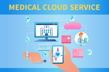 Banner Illustration Medical Cloud Service System