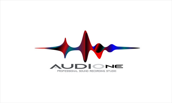 DJ Dance Party Logo, Recording Studio Emblem, Audio Wave and Light Dark Gradient Background