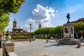 City square in Alcala de Henares, famous town in Spai