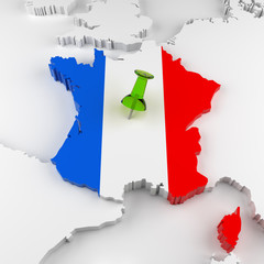 France Map with Flag. 3D Rendering