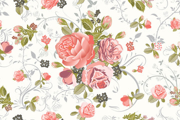 Living Coral Rose Bouquet with Floral Swirls Repeat Seamless Pattern Illustrations