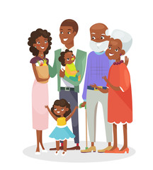 Vector illustration of big happy family portrait. African American grandparents, parents and children together isolated on white background. Smiling and happy cartoon family characters for web banner