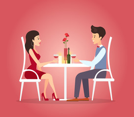 Vector illustration with romantic dinner of couple. Dating concept. Valentines day celebration of beautiful woman and handsome young man in flat cartoon style.