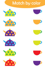 Matching game for children, connect colorful kettles with same color caps, preschool worksheet activity for kids, task for the development of logical thinking, vector illustration