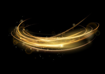 Vector illustration of golden abstract transparent light effect isolated on black background, round sparcles and light lines in golden color. Abstract background for science, futuristic, energy Fotomurales